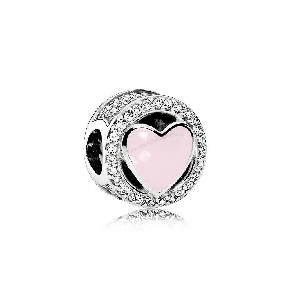 Pas Cher Charms Wonderful Amour Soft Pink Enamel Clear CZ En Ligne