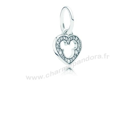 Pas Cher Disney Mickey Silhouette Dangle Charm Clear CZ En Ligne