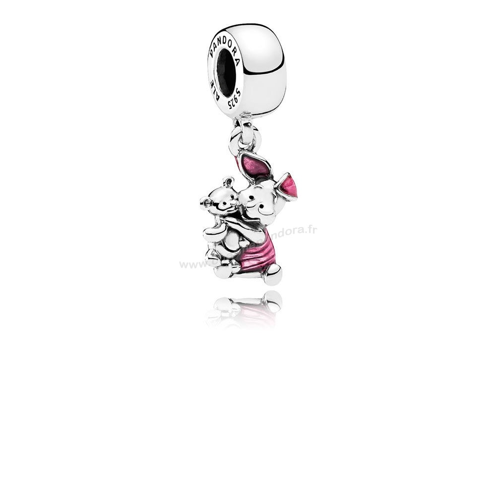 Pas Cher Disney Piglet Dangle Charm Transparent Cerise émail En Ligne