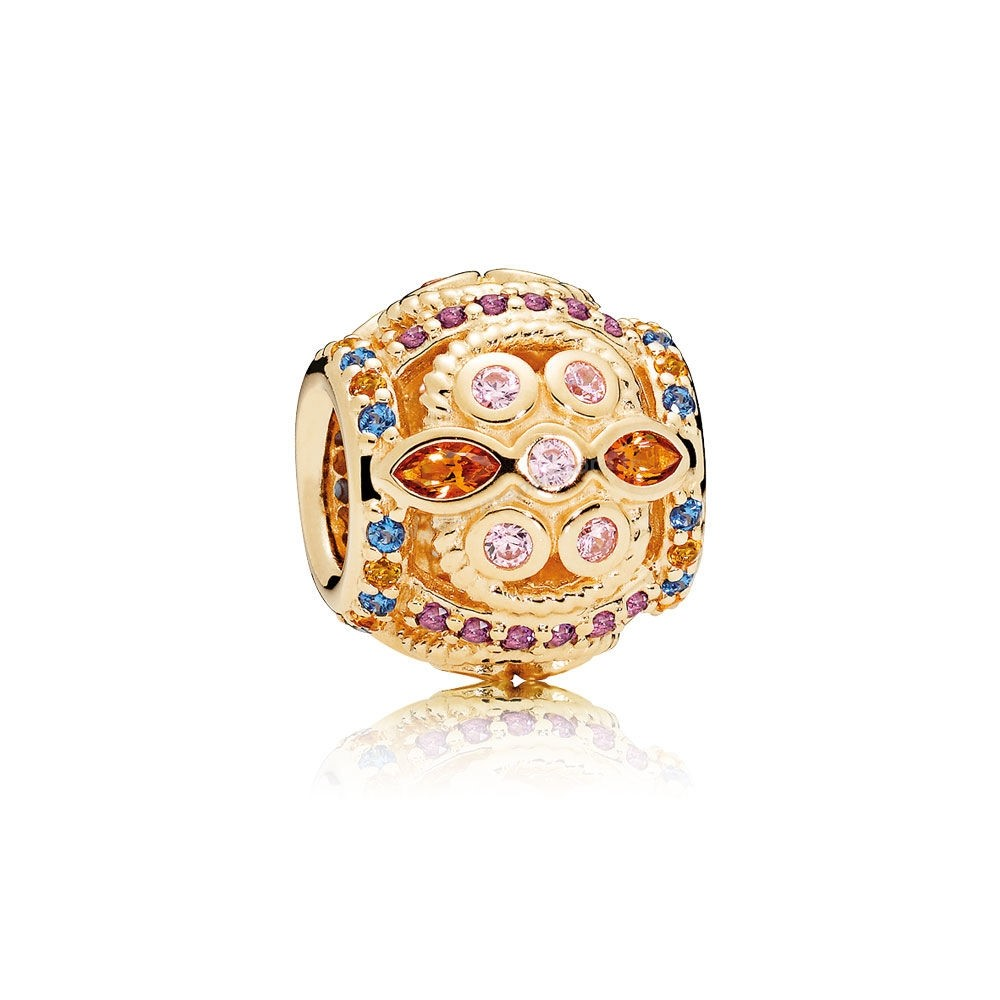 Pas Cher PANDORA COLLECTIONS Color Fresco Charm 14K Or Cristaux multicolores Pink CZ En Ligne