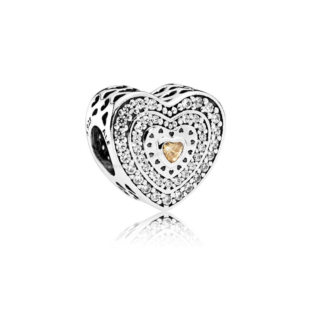 Pas Cher PANDORA Charms Saint Valentin Charme Coeur luxueux Fancy Coloured Clear CZ En Ligne