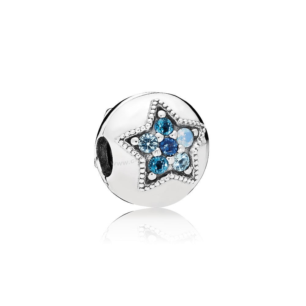 Pas Cher PANDORA Clips Breloques Bright Star Clip Multi Coloured Crystals En Ligne