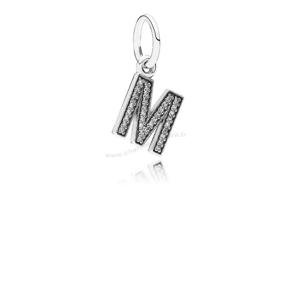 Pas Cher PANDORA Dangle Breloques Lettre M Dangle Charm Clear CZ En Ligne