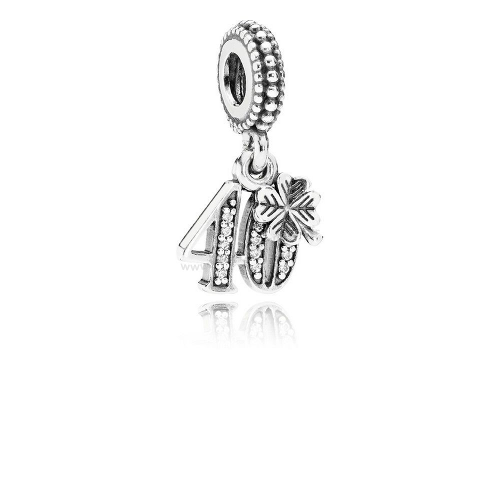 Pas Cher PANDORA Dangle Charms 40 Années D'amour Dangle Charm Clear CZ En Ligne