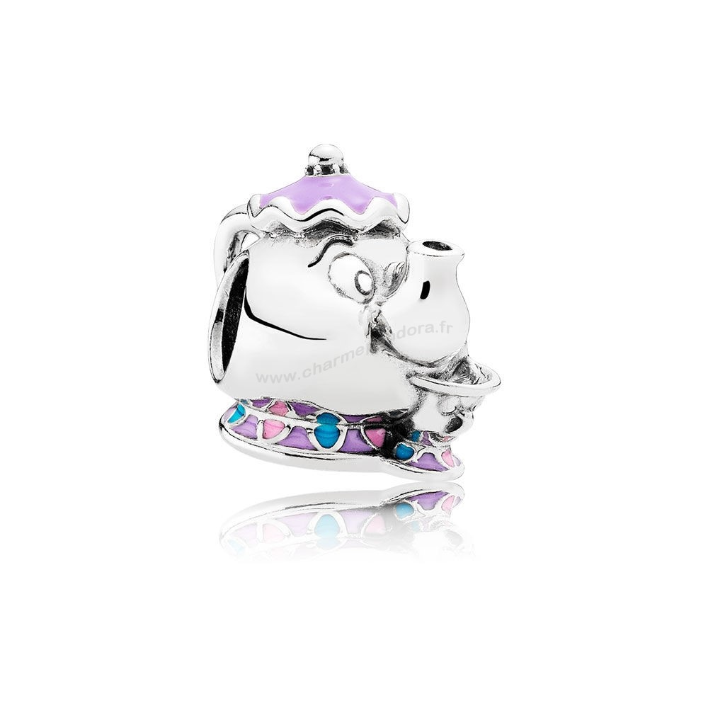 Pas Cher PANDORA Dangle Charms Disney Mrs. Potts Puce Charme Mixed émail En Ligne