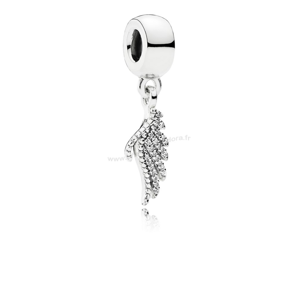 Pas Cher PANDORA Inspirant Charms Majestueux Feather Dangle Charm Clear CZ En Ligne