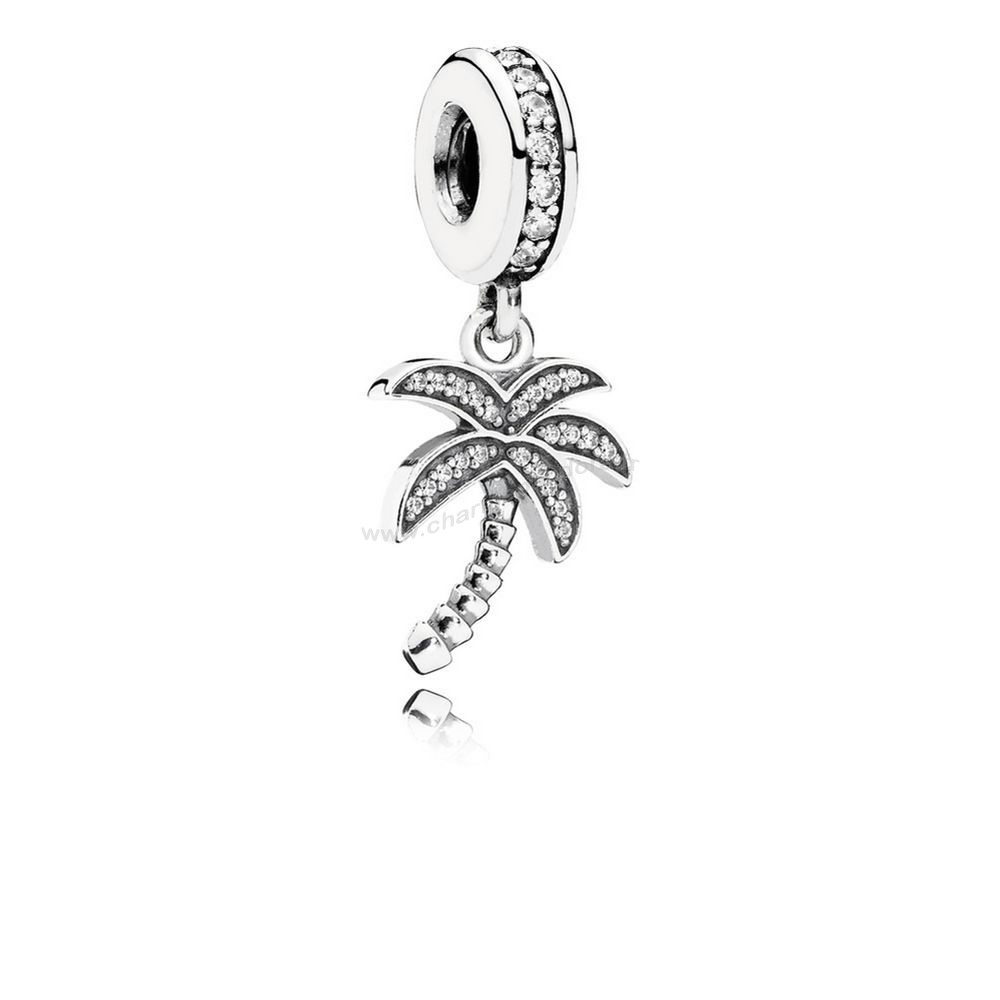 Pas Cher PANDORA Nature Charms Charmant Palmier Dangle Charme Clear CZ En Ligne