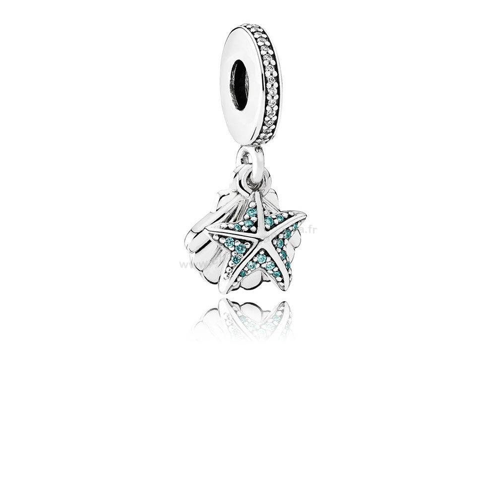 Pas Cher PANDORA Pendentifs Tropical Starfish Breloque Sea Shell Dangle Frosty Mint Clear En Ligne