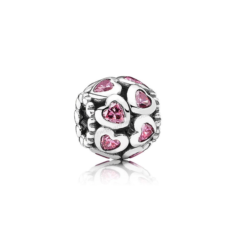Pas Cher PANDORA Saint Valentin Breloques Amour All Around Charm Fancy Pink CZ En Ligne